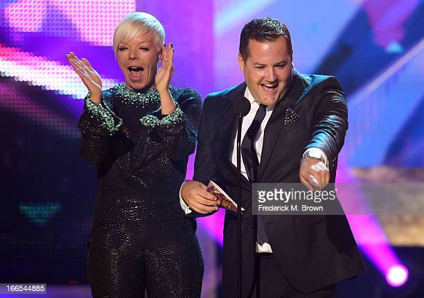 Presenters Tabatha Coffey and Ross Mathews speak onstage during the 2013 NewNowNext Awards at The Fonda Theatre on April 13 2013 in Los Angeles...