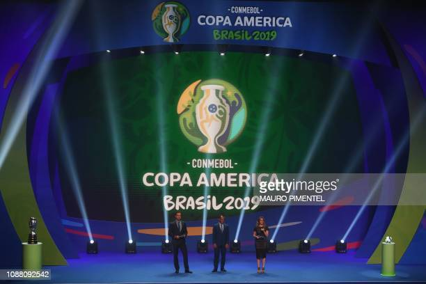 TOPSHOT TV presenters Tadeu Schmidt and Fernanda Gentili and Brazilian former footballer Cafu present the draw of the 2019 Copa America football...