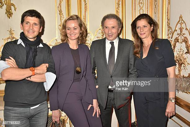 TV presenters Thomas Sotto Guilaine Chenu Michel Drucker and Francoise Joly attend 'Autistes Sans Frontieres' Gala Dinner Arrivals at Hotel Marcel...