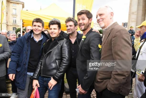 TV presenters Thomas Sotto Herve Mathoux Vincent Niclo Christophe Beaugrand and Tom Novembre attend Une Jonquille pour Institut Marie Curie Place du...