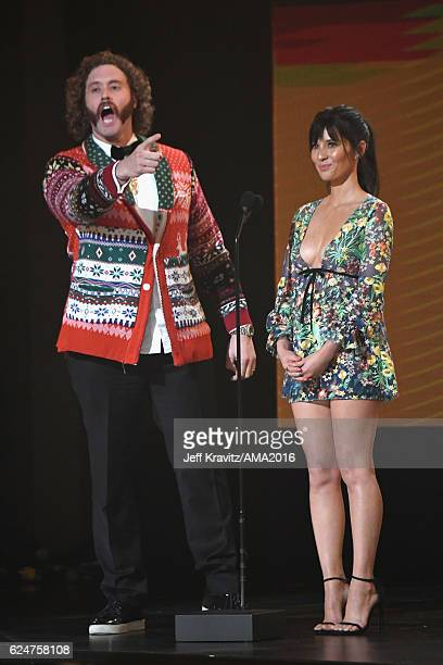 Presenters T.J. Miller and Olivia Munn speak onstage at the 2016 American Music Awards at Microsoft Theater on November 20, 2016 in Los Angeles,...
