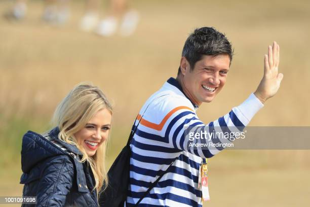 TV presenters Vernon Kay and Nicki Shields during previews to the 147th Open Championship at Carnoustie Golf Club on July 18 2018 in Carnoustie...