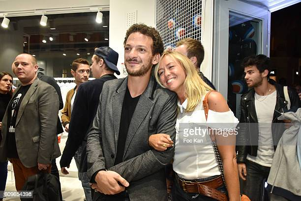 TV presenters Vincent Dedienne and Enora Malagre attend the Coq Sportif Boutique Opening Party on September 21 2016 in Paris France