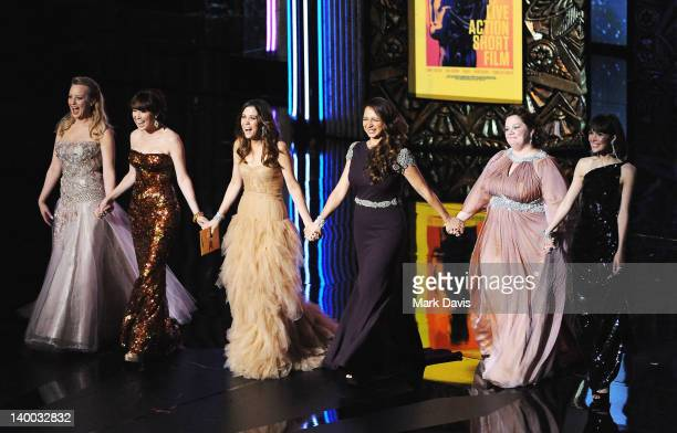 Presenters Wendi McLendonCovey Ellie Kemper Kristen Wiig Maya Rudolph Melissa McCarthy and Rose Byrne speak onstage during the 84th Annual Academy...