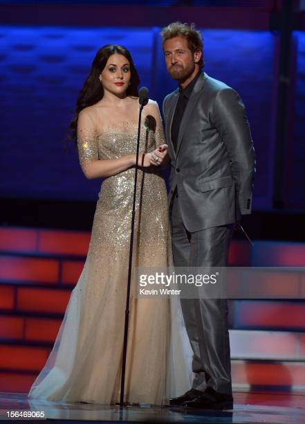Presenters Zuria Vega and Gabriel Soto speak onstage during the 13th annual Latin GRAMMY Awards held at the Mandalay Bay Events Center on November 15...