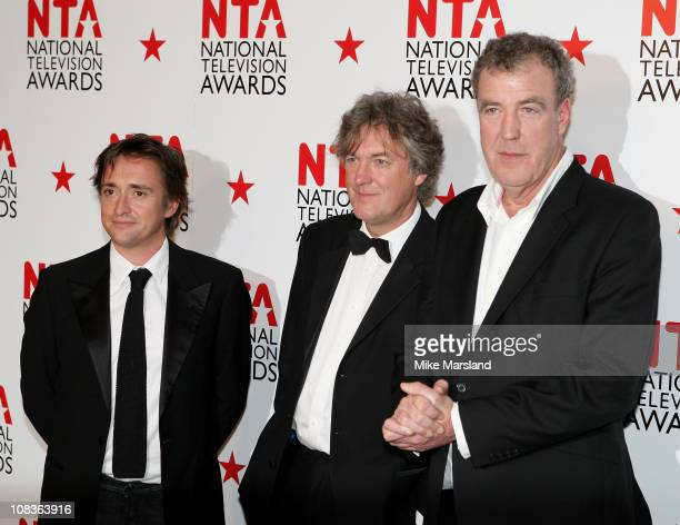 TV Presentesr Richard Hammond James May and Jeremy Clarkson pose in the press room at the The National Television Awards at the O2 Arena on January...