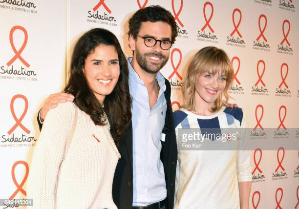 Presenteur, Thomas Isle and Maya Lauque attend the Sidaction 2017 Launch Party : Photocall at Musee Branly on March 07, 2017 in Paris, France.