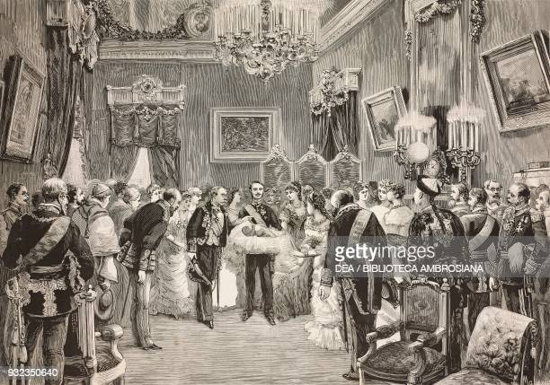 Presenting the Infanta of Spain Maria de las Mercedes of BourbonSpain to the high dignitaries of the State Madrid drawing by Edoardo Matania...