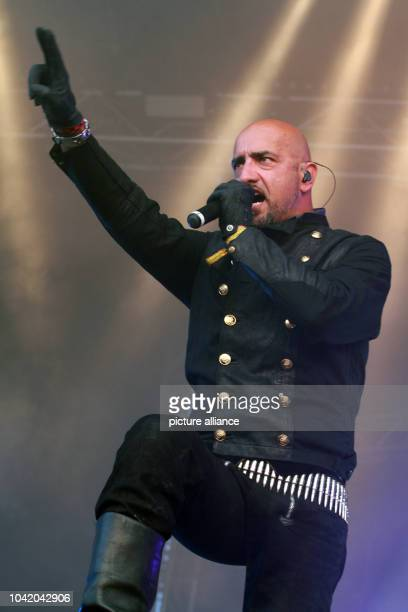 Presentor singer and actor Alexander Wesselsky stands on stage during the heavy metal outdoor festival in the Harz Mountains Rockharz Festival in...
