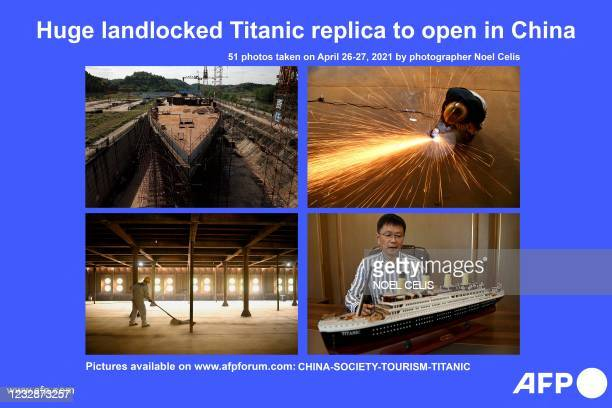 Presents a photo essay by Beijing-based photographer Noel Celis taken on April 26-27, 2021 showing a still-under-construction replica of the Titanic...