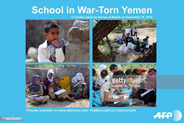 Presents a photo essay of 17 pictures by Ahmad al-Basha taken on September 16 of Yemeni school children attending an open-air class at their...