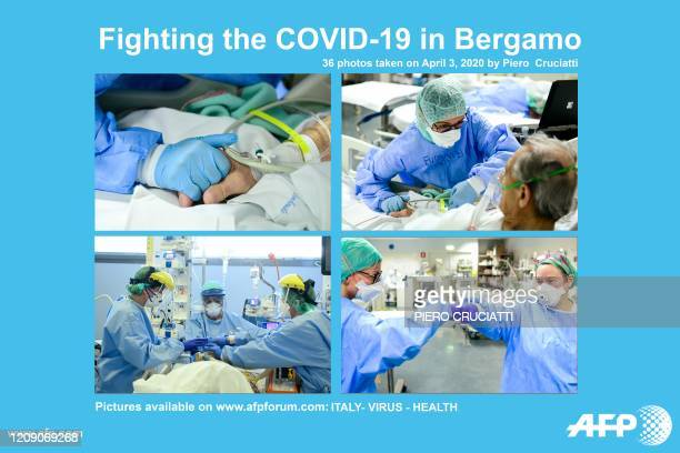 Presents a photo essay of 36 images by photographer Piero Cruciatti on April 3, 2020 showing members of the medical staff working at the COVID-19...