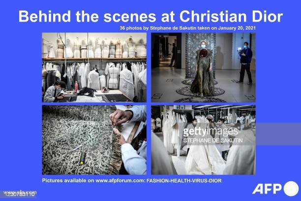 Presents a photo essay of 36 photos by French photographer Stephane de Sakutin of the atelier and fitting session at Christian Dior's Haute Couture...