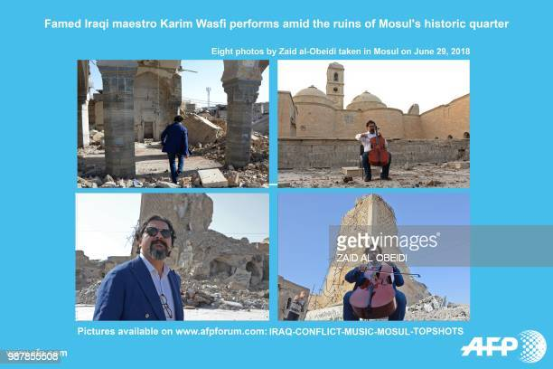 AFP presents a photo essay of eight images by photographer Zaid alObeidi on Iraq's famed maestro and cello player Karim Wasfi performing amid the...