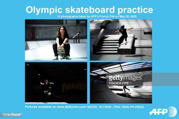 AFP presents a series of 14 photographs taken on on May 29 of French skateboarder street category Charlotte Hym practicing as she prepares for the...