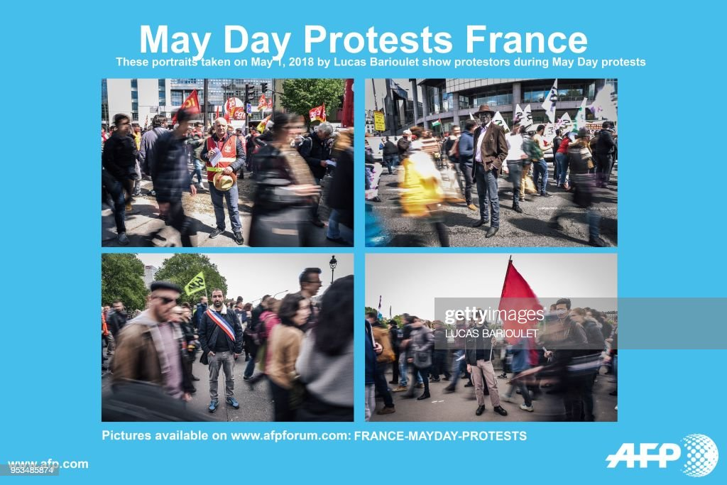 AFP presents a series of eleven portraits by photographer Lucas Barioulet during a demonstration on the sidelines of a march for the annual May Day workers' rally in Paris on May 1, 2018. - Anti-capitalist protesters torched a McDonald's restaurant and clashed with police in Paris on the fringes of a May Day rally in Paris. Shouting slogans such as 'Rise up, Paris' and 'Everyone hates the police', over 1,000 youths with black jackets and face masks joined the traditional union-led demonstration for worker's rights, AFP journalists reported.