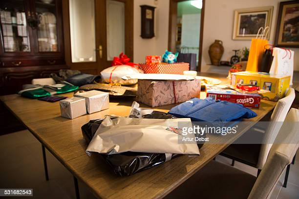 Presents in the living room house for the Three Kings Day celebration in January 6th of 2015 in Barcelona Catalonia Europe