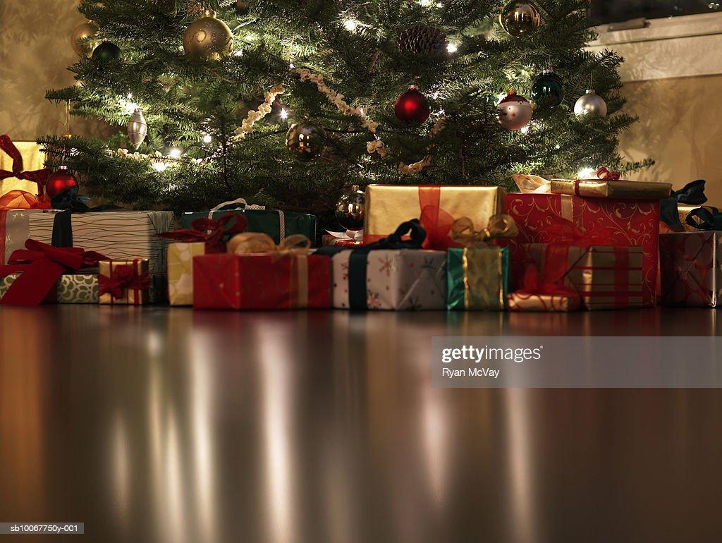 Presents Under Christmas Tree Surface Level Stock Photo