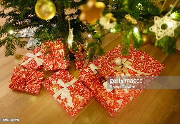 Presents underneath a christmas tree on December 24 in Martinroda Germany