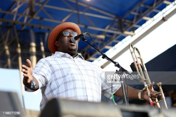 """Preservation Hall Jazz Band perform during the """"If I Had A Song"""" tribute set during day three of the 2019 Newport Folk Festival at Fort Adams State..."""