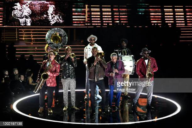 Preservation Hall Jazz Band perform onstage during the 62nd Annual GRAMMY Awards at STAPLES Center on January 26 2020 in Los Angeles California
