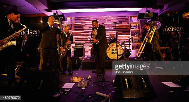 Preservation Hall Jazz Band performs as Nielsen Hosts PreGRAMMY Celebration Connecting Media Brands and Entertainment on February 7 2015 in Los...