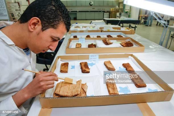 Preservative Nagm Eldeen Morshed is dusting a series of linen fabrics from the tomb of Tutankhamen GEM Bio Restoration Laboratory in Cairo