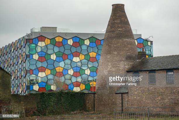 A preserved bottle kiln contrats against the modern One Smithfield office building on February 2 2017 in StokeonTrent England The StokeOnTrent...