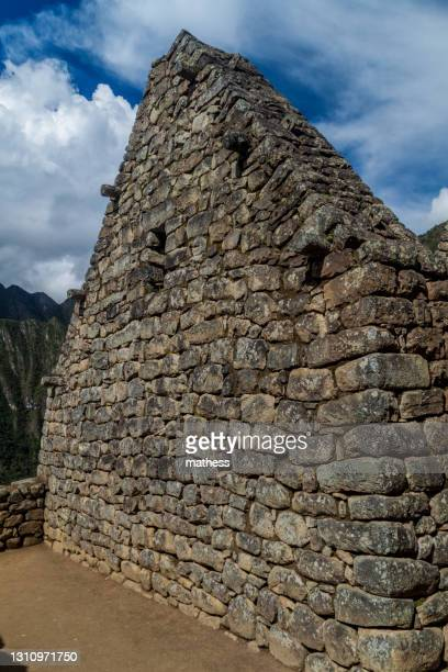preserved building at machu picchu ruins