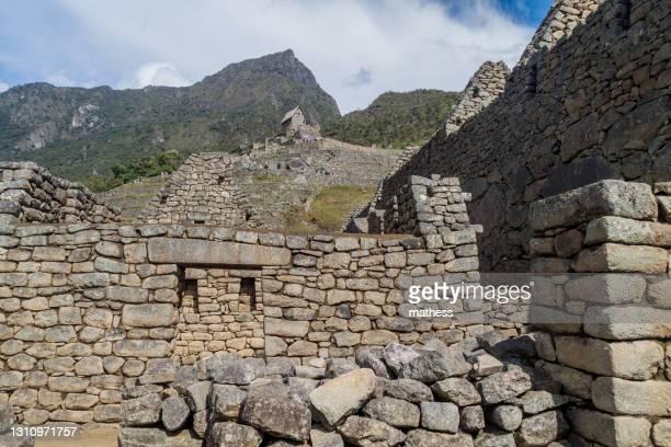 preserved buildings at machu picchu ruins