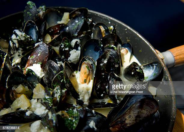 Preserved Lemon/Goat Cheese Mussels from Brasserie Beck is photographed Wednesday August 11 in Washington DC