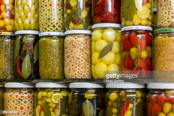 Preserved lemons, olives and pickles for sale, Marrakesh