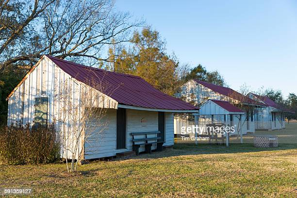Preserved slave quarters shacks at cotton plantation at Frogmore Farm in Ferriday the Deep South Louisiana USA