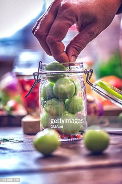 Preserving Green Tomatoes in a Jar