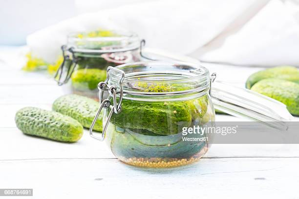 preserving jar of gherkins and cucumbers - pickles stock photos and pictures