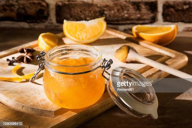 Preserving jar of homemade orange marmalade