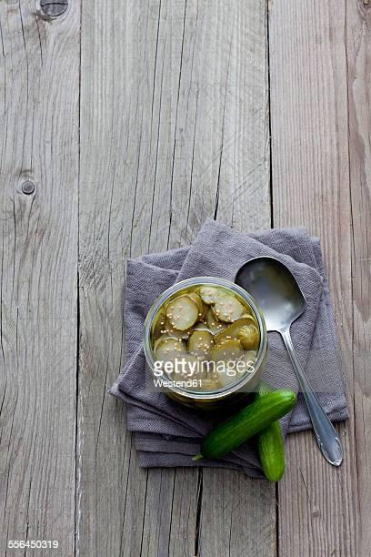Preserving jar of pickled gherkins