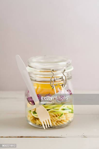 preserving jarr of vegan mixed salad with pasta - jars with salad stock pictures, royalty-free photos & images