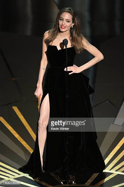 Preseter Angelina Jolie speaks onstage during the 84th Annual Academy Awards held at the Hollywood Highland Center on February 26 2012 in Hollywood...