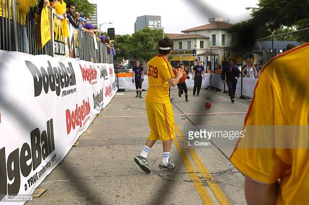 Preshow dodge ball game during Dodgeball A True Underdog Story World Premiere Red Carpet at Mann Village Theater in Westwood California United States