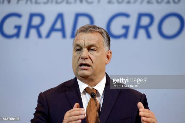 V4 presidency leader Hungarian Prime Minister Viktor Orban informs the press about their meeting with Israeli Prime Minister Benjamin Netanyahu in...