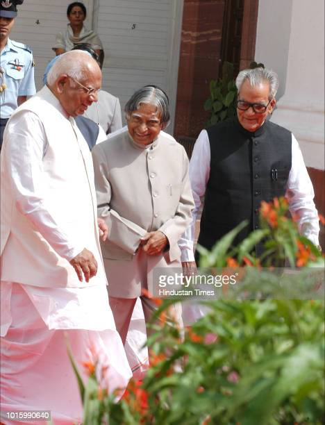 President A P J Abdul Kalam Vice President B S Shekhawat Loksabha Speaker Somnath Chatterjee Prime Minister Manmohan Singh arrive at the courtyard of...