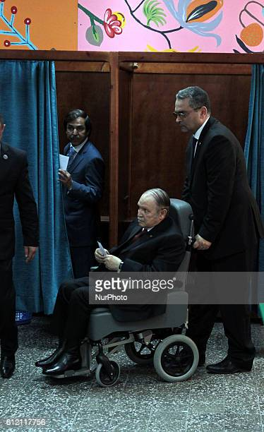 President Abdelaziz Bouteflika casts his vote in a polling centre in El Biar suburb in upper Algiers on April 17 2014 Algerians headed to the polling...