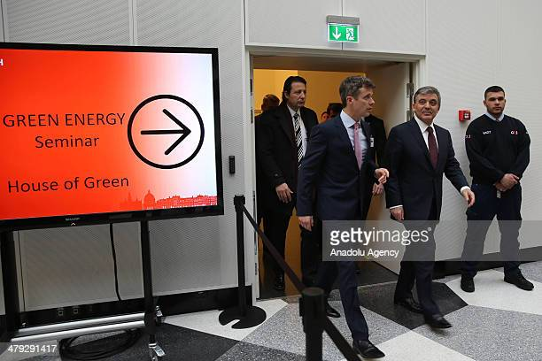 President Abdullah Gul and Crown Prince of Denmark Frederik are informed about programmes of Denmark about green energy on the opening sitting of...