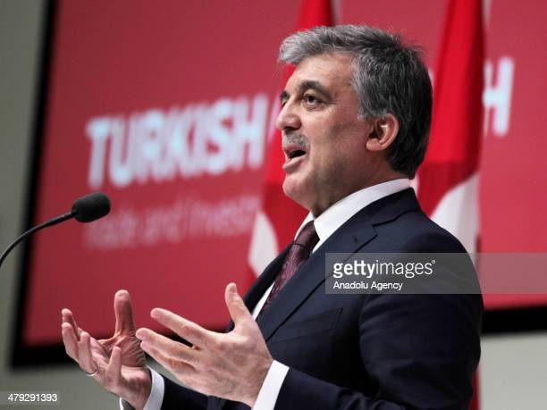 President Abdullah Gul gives a speech on the opening sitting of TurkDenmark Trade and Investment Forum organized in cooperation with Turkish Union of...