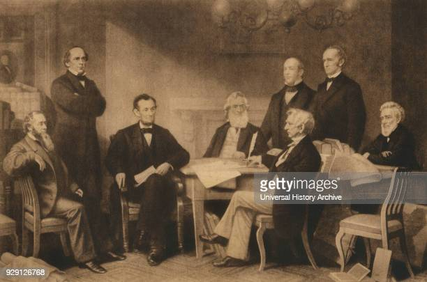 President Abraham Lincoln and First Reading of the Emancipation Proclamation of 1863, Washington DC, USA, Illustration.