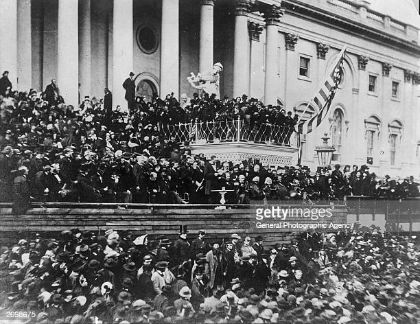President Abraham Lincoln making his inaugural speech during his second inauguration on 4th March 1865