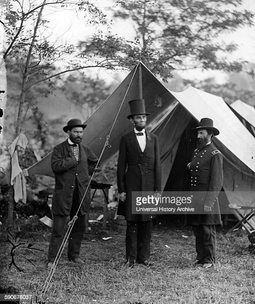 US President Abraham Lincoln with Allan Pinkerton and General John McClernand at Sharpsburg Maryland 1862