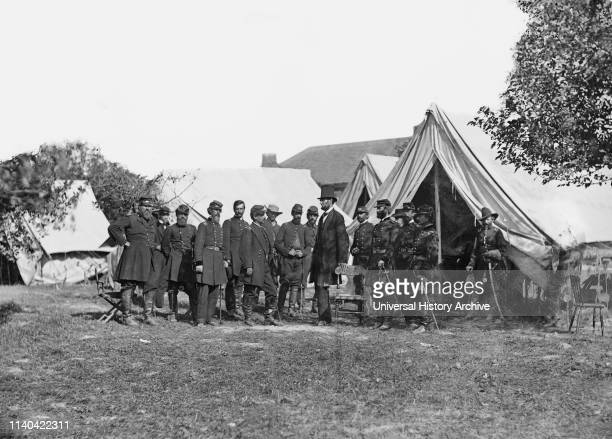 President Abraham Lincoln with General George B. McClellan and Group of Officers after Battle of Antietam, Alexander Gardner, October 3, 1862.