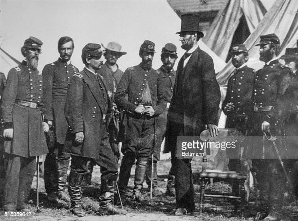 President Abraham Lincoln with General George B McClellan at his headquarters at Antietam October 3 1862 From left General George W Morell Colonel...